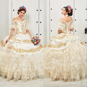 Ébouriffé Floral Charro Quinceanera Robes Encolure Puffy Jupe Or Perles Broderie Princesse Sweety 16 filles mascarade robe de bal
