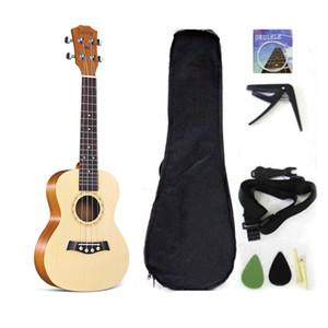 Концертная Гавайская Гитара Твердая Верхняя Ель 23 Дюйма С Аксессуарами Для Гавайской Гитары С Концертной Сумкой