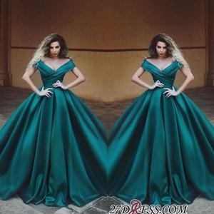 2019 Terbiyeli Yeşil Off-Omuz Balo Ruffles Akşam Elbise Uzun Modest V Yaka Kolsuz Abiye Örgün Parti Giyim Artı boyutu