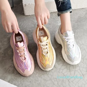 Shoe pai prata Crystal2019 Liang Ji Noodles Laser Mulher Ins Sneakers Flange Aumentar calçados casuais