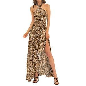 Fashion Lady Sexy Léopard Noué Robe De Taille Plage Robe De Qualité Robe Cross-Necking Cou Halter Longues Femmes Robe Jupe *