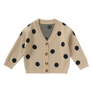 2 3 4 5 6 7 Years Toddler Baby Sweater Fashion Korean Dot Printing Knit Cardigan Kids Clothing Boys Girls Sweaters High Quality