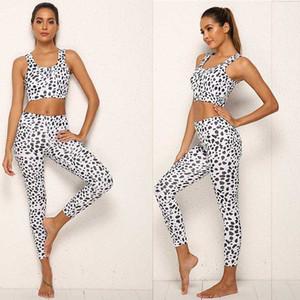 Zhangyunuo Palestra dalmata Imposta Stampa Yoga 2 piece set Donne Attive Sport Gym Fitness allenamento Running Wear