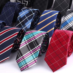 6 cm de Largura Laços Dos Homens Nova Moda Xadrez Gravatas Jacquard Tecido Laço Fino Casamento De Negócios Tarja Gravata Para Homens