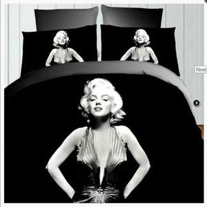4pcs Retro 3D Printing Marilyn Monroe Rainha cama Sheet Set Duvet Cover fronha Duplo Double Queen King Size