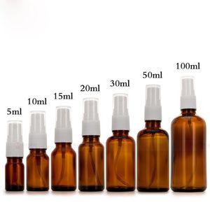 In Stock!! 5ml 10ml 15ml 20ml 30ml 50ml 100ml amber spray pump glass perfume bottles Brown Glass cosmetic spray Bottle on promotion