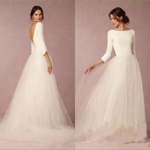 저렴한 겸손한 웨딩 드레스 라인 탑 Backless 2019 긴팔과 신부 가운 간단한 디자이너 얇은 명주 그물 치장 용 타이어 스커트