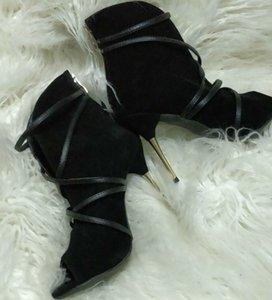 2019 고급스러운 스틸레토 하이힐 Peep Toe 디자이너 펌프스 블랙 스웨이드 드레스 여성 신발 Shoes 매듭 10 CM Party Shoes