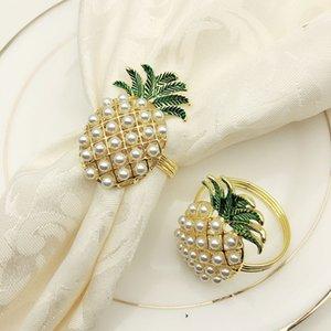 6Pcs Симпатичные кольца для салфеток ананаса Форма Pearl бисера Сияющий золотой браслет Крестины металла подарка венчания для вечеринок Promotion