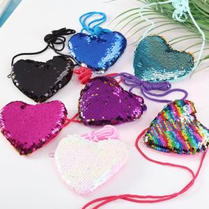 Forma ragazze paillettes cuore Purse Kids Designer Messenger Bag Coin Purse mini cuore Borse a tracolla a forma di HHA701