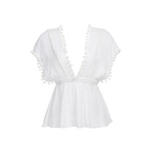여성 여름 섹시한 느슨한 셔츠 캐주얼 여성 민소매 화이트 티는 레이스 새로운 술 볼 딥 V 넥 T 셔츠 탑 탑