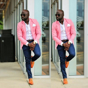 Jacket Rosa Azul-marinho Calças botões ONE Suits Mens casamento do homem Blazer Groom Tuxedo Slim Fit Homens de negócio Terno (Jacket + Pant)