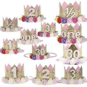 Happy First Birthday Party-Hüte-Dekor Cap Eine Geburtstags-Hut-Prinzessin Crown 1. 2. 3. Jährig Zahl Baby-Kind-Haar-Zusatz