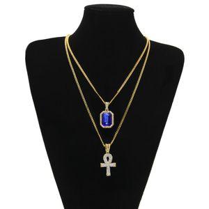 catene d'oro Abbastanza egiziano Ankh Con Rosso Rubino collana pendente croce Set Men Bling Hip Hop Jewelry