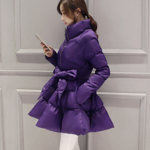 Plus Size Cotton Padded Jacket Women Tops Ukraine Loose Maternity Clothes Thick Solid Belt Warm Coat Winter Warm Outerwear S222