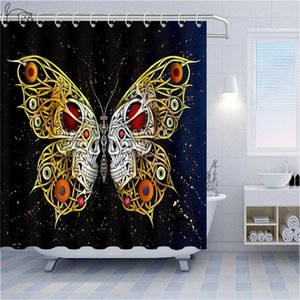 Skull Shower Curtains Beautiful Butterfly Pink Rose Flower Dangerous Goods Horror Skull Home Decoration Bathroom Shower Curtain Waterproof