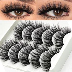 5 paires Multipack 5D Doux Vison Cheveux Faux Cils Main Wispy Fluffy Long Cils Nature Maquillage Des Yeux Outils Faux Cils