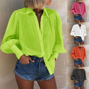 Kadın Puff Kol Gevşek Gömlek Kadın Sweet Renk Yaka Yaka Uzun Kollu Casual Bluzlar Kadınlar Moda İlkbahar Yaz Elbise