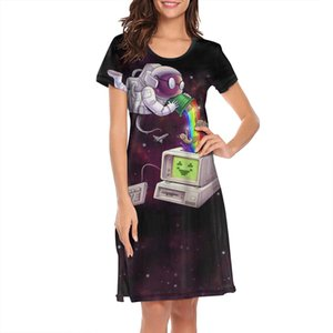 Nighties for women Galaxy Space Cat in Computer design personality humorous short sleeve nightdress Laser Eyes Black Violet Funny Kitty