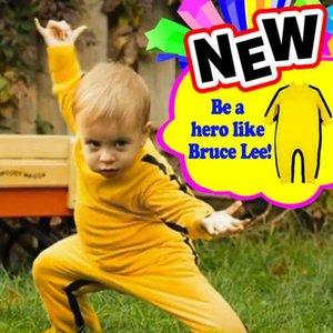 Vestuário Escalada algodão Primavera Outono New Bruce Lee amarelo Jumpsuit Romper recém-nascido Manga comprida Super bebê adorável