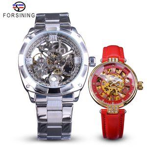 Forsining пару часов Набор Комбинация Мужчины Серебро Автоматические часы стали / Lady Red Skeleton Кожа Механические наручные часы подарков