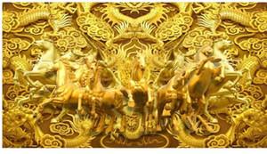 papéis de parede para sala de estar Golden Horse Golden Dragon Horse para o Sucesso Office Wall Background 3D