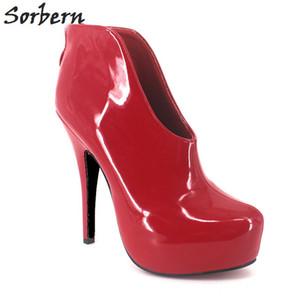 Sorbern Rouge En Cuir Verni Femmes Pompe Talons Hauts Plate-Forme Party Chaussures Pour Femmes Taille 42 Femmes Chaussures Couleurs Personnalisées Épais Talons