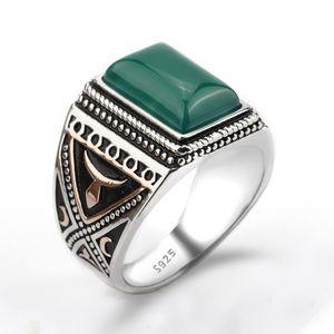 925 El ajuste de plata anillo de piedra de ágata verde punky geométrico Estilo Hombres joyería anillo de dedo