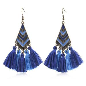 Серьги в богемном стиле с длинными кисточками в форме ромба Gem Ear Серьги с кисточками Серьги-подвески для женщин