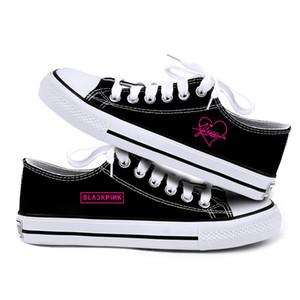 2019 Kpop BlackPink Chaussure de toile Lovers ventilation Chaussures plates Chaussures Femme Printemps Kpop Jennie Jisoo Lisa Rose Imprimer Sneaker