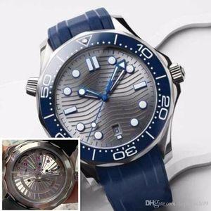 Homens de luxo Movimento Relógio Automático Mecânica 42MM James 007 Rubber Strap Sapphire Vidro Espelho caixa de aço inoxidável relógio à prova d'água