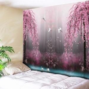 핑크 꽃과 새 예술 카펫 보헤미안 장식 거실 큰 담요 매달려 큰 벽 태피스트리 저렴한 히피 벽을 인쇄
