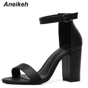 Annexe 2019 été femmes sandales, plus la taille 35 -42 bride à la cheville chaussures talons épais sandales gladiateur femmes pompe noir Y19070603