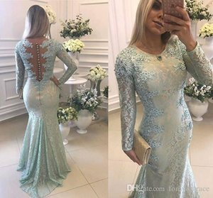 2019 Salbei Meerjungfrau Abendkleid Jewel Neck Long Sleeves Mit Spitze Applique Formal Holiday Wear Prom Party Kleid Nach Maß Plus Größe