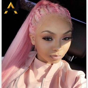 Human Front Wigs Lace cheveux Rose brésilienne cheveux raides longs perruques 13 * 4 Densité 150% transparent vierge perruque de cheveux