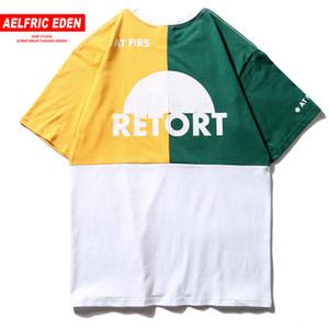 Aelfric Eden Color Block t-shirt casual in cotone moda uomo Uomo Streetwear 2019 arrivo Hip Hop Tees magliette C19040402