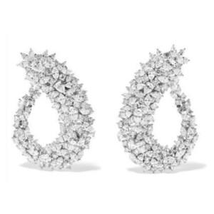 Godki Famoso Diseño Lujo Popular Geometría Flor Lleno Mirco Pavimentado Cubic Zirconia Pendiente de la boda Joyería de Moda J190520