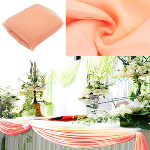 10m color pesca * 1 .35m Organza Swag tessuto della decorazione di cerimonia Scenografia accessori per tende Tavolo Skitr partito della decorazione