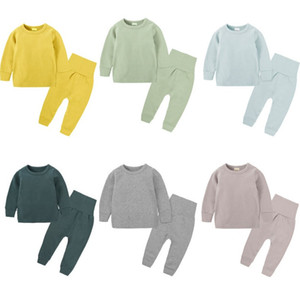 2pcs / комплект детского белья набор мальчиков и девочек, детские пижамы хлопка пассивом пижамы младенца одежды Комплекты рубашки Брюки детские одежды для отдыха
