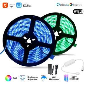 Tuya Akıllı yaşam APP Wifi Kontrolörü DC12V 5050 RGB 60leds / m LED Esnek Şerit İşleri ile Amazon Alexa Google Ana + Güç