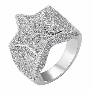 Hip Hop Mens Rings Iced Out Five-Pointed Star Micro Pave Zircon Rings for Men Women Fashion Rock Jewelry