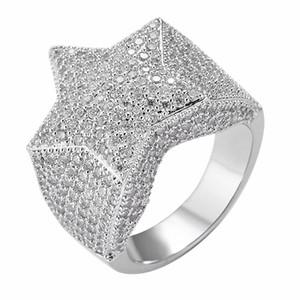 Hip Hop Anéis Dos Homens Congelou Cinco-Pontas Estrela Micro Pave Zircon Anéis para Homens Mulheres Moda Rock Jóias