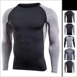 camiseta para hombre de Europa los EEUU ropa de deporte corriendo de secado rápido camiseta deportiva de manga larga delgado entrenamiento estiramiento de compresión medias vcbg