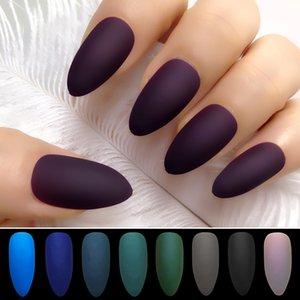 False Nails Wholesale Coffin 12 Colors Stiletto Matte Fake Nail Dark blue Frosted Stiletto Artificial Nail Eraser Touch 24pcs set