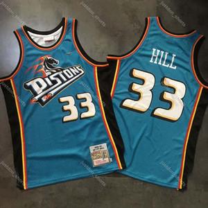 Alta qualitàDetroitPistoni pallacanestro Jersey 33 # Grant Hill MITCHELL NESS Dense AU tessuto Retro Maglie Stampa Digitale