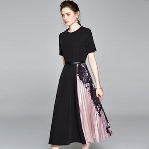 Spring Vintage Elegant Black Long Midi Cocktail Dresses Short Sleeve Women Print Pleated Patchwork Ladies Slim Dress Plus Size