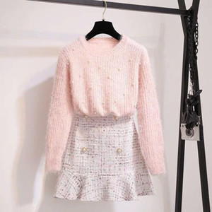 Automne Winter Femmes Rose Douce manches longues Pull en perles Pull à tricoter Top + Tweed Sirène Jupe Midi 2 pièces