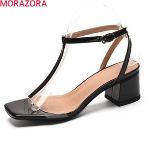 MORAZORA 2020 New genuine leather women sandals thick high heels square toe party shoes fashion T-strap summer shoes