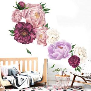 Peony Rose Blumen-Wand-Kunst-Aufkleber-Abziehbilder Vinylaufkleber Kinderzimmer Kinderzimmer Ausgangsdekor-Tapete für Schlafzimmer Wohnzimmer