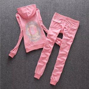 Kadın kadife kumaş eşofman kadife takım elbise kadın sulu eşofman Hoodies ve pantolon iki adet Giyim seti